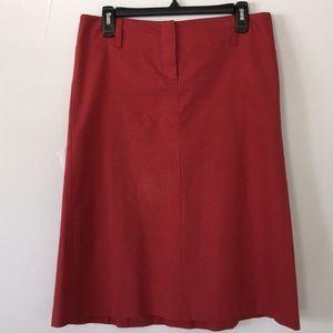 Theory red midi skirt